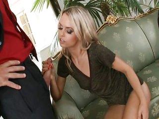 Blond Sabrina is damn horny