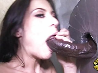 Tattooed darksome haired pornstar sucks darksome glory aperture dick