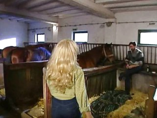 German country girl drilled in stable