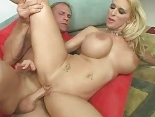 Taut a-hole blonde with heavy tits gets drilled an creampied
