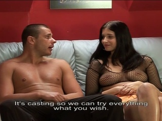 Teen busty brunette tries out on european porn auditions