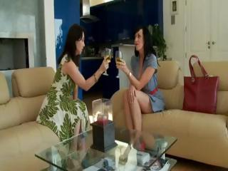 2 brunette MILF's in hot foursome sucking and fucking the salesman's schlongs