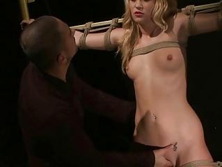 Hot blond getting bondaged and punished