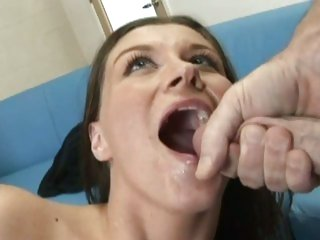 Tantalizing Sara Stone gets a mouth full off warm sperm