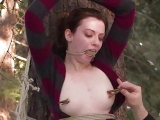 Tied and helpless, Kristine need to let her big titties be man-handled
