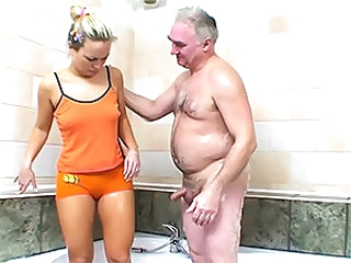 Hot Blonde Sucks and Fucks an Aged Man's Small Dick