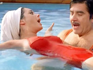 Charming Brunette hair Babe Edwige Fenech Wearing Constricted Red Swimming Dress