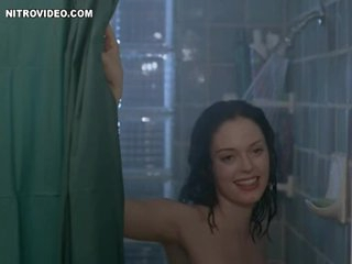 Dark brown Rose McGowan Invites a Guy To Shower with Her
