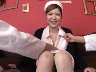 Perverted Nurse Riana Natsukawa Receives Fucked and Creampied in a Three-some