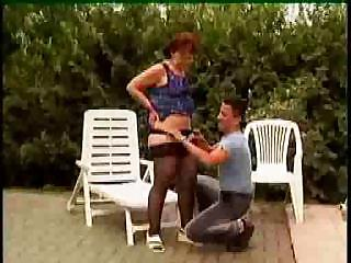 Granny In Glasses And Stockings Outdoor Shave And Fuck