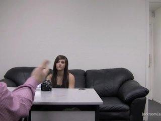 Kaylie on Backroom Casting Daybed rubbing her wet crack
