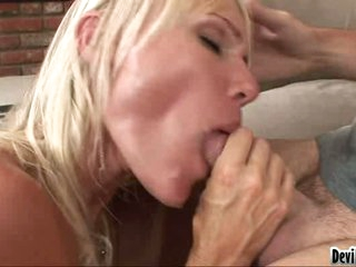 Daring blondie is lovely her lover's stiff cock in her awesome mouth