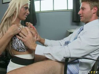 Blonde milf Holly Halston sucking long cock of lucky man in office