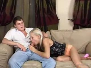 brother an sister have hot sex on couch