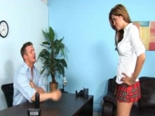 horny Hot brunette teen riding the school dean