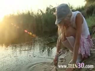 Petite Eighteen years old chick Loly on beach