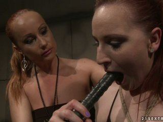 Katy Borman got tortured with black dildo
