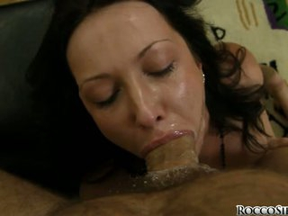 Hard cocked Rocco Siffredi forces his manhood on a lucky whores simmering throat