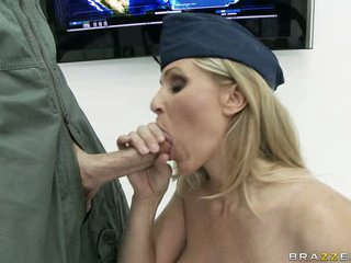 Ramrod sucking bitch Julia Ann is having a great taste of the fortunate man's sausage
