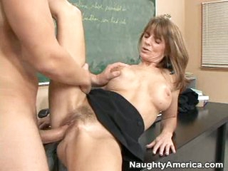 A hard cock gets slammed into older slut Trisha Lynne's curly pussy.