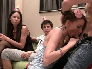 These horny students suck dick at a birthday party