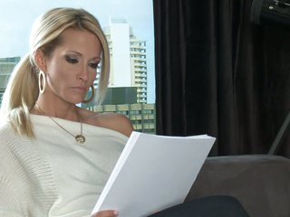 Blond MILF Jessica Drake is a writer that would like to fulfill her sex fantasies. Her dreams are about having sex with stylish elegant dude from the past. She would share her ottoman with that man.