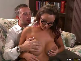 Big breasted glassed teacher Danni Cole getting humped
