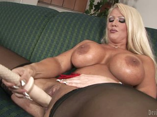 Blonde Alura Jenson with monster tits gives a close-up view of her shaved wet snatch before she fills her hole with big sized dildo. Huge titted blonde dildo fucks her cunt like crazy!