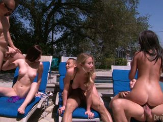 Cassandra Nix. Mira B and Nandy Armani are three horny girls that enjoy poolside swinger party right in the sun. They suck cock and get their fuck holes drilled by rock stiff dicks.