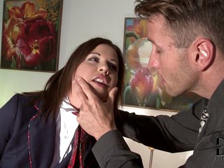 Gloria is a bad student girl. Her teacher is very angry after he catches her smoking. He is one on one with her in his office to give her a punishment she deserves.