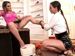 Natasha Nice and Eve Angel are two incredibly sexy lesbian babes with long legs. They fondle each other and Eve Angel eats Natasha Nice's sweet pussy with appetite.