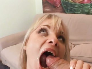 Luscious Sharka Blue gets her mouth filled with cum