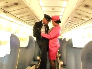 Stewardess Valentina Velasques is threesomed onboard