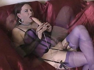 Joanie toying and cumming in purple lingerie