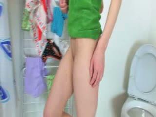 Smiling 18yo teenager teasing on toilet