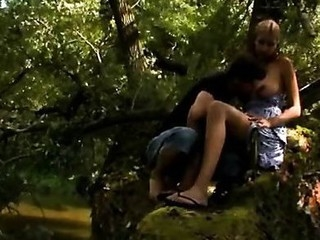 Hottie fucked in forest