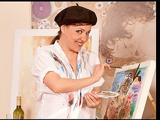 Cougar Karen Wood dips her paint brushes in her older cum-hole juice