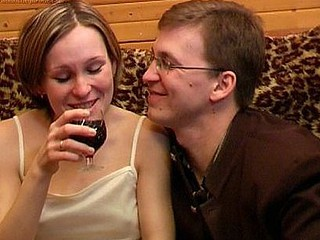 This Babe's drinking during the time that sitting on him