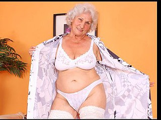 Large titted grandma plays with her boobs and her old cunt