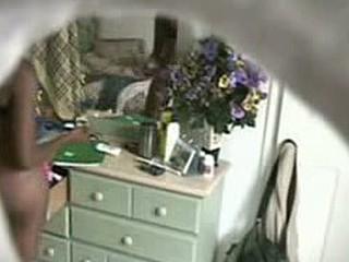 Ebony gf caught on a hidden cam