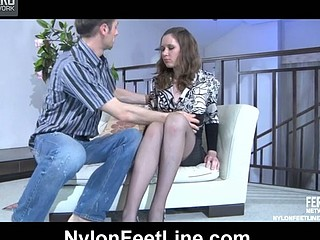 Louisa B&Gerhard nylon footfuck action