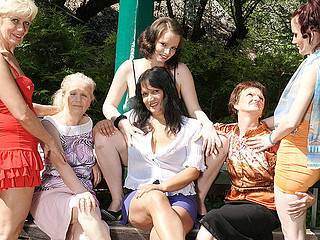 Six horny old and juvenile lesbos have a impure wet picnic