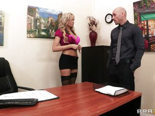 hot blonde nice tits being fuced on her desk