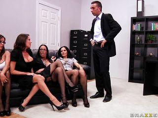four brunettes start sucking on their bosses cock
