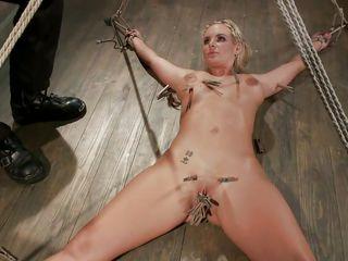 slutty blonde cums on the floor