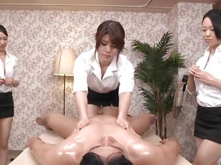 oiled and massaged by three milfs