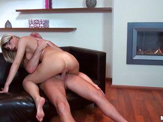 hot blonde rides and sucks hard cock