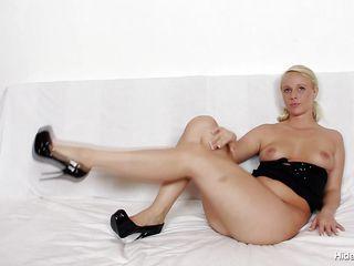 very horny blonde with small sexy tits masturbating