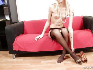 czech blonde babe masturbating on the couch