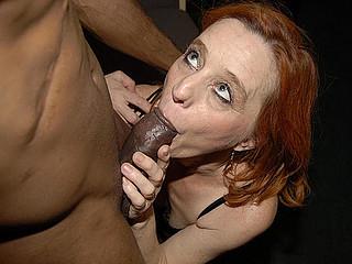 Red aged slut munching on a large swart ramrod